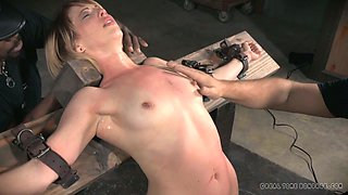 Sweet slave with small tits gets her pussy toyed by her cunning  master