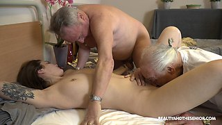 Naughty sinful fresh girl Nana Garnet seduces older man to suck his cock