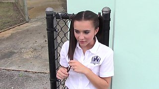 School uniform cutie is his petite and flexible fuck slut