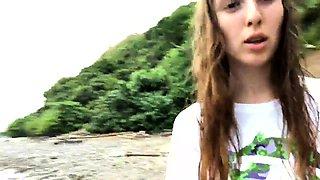 Busty brunette teen outdoor solo