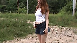 Outdoor flashing wifey in skirt striptease amateur fun