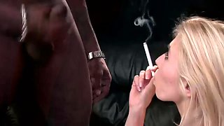 Chain smoking hot blonde blacked
