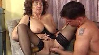 Granny in Black Stockings Fucks