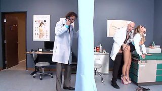 Busty doctor Alexia Vosse in heels pussyfucked by bald colleague
