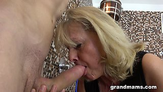 Wrinkled mature blonde slut is into jerking and sucking stiff boner cock