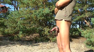 E-Stim outdoor ,Public flashing in wood, jerking off