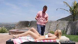 Pervert neighbor is spying on super sexy Kenzie Taylor sunbathing topless