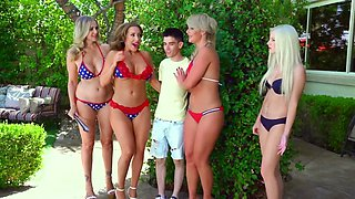 One gifted dude is fucking four sex-crazed MILF ladies