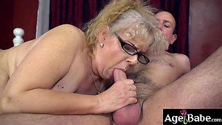 Robs throbbing cock drilled granny Violas vintage pussy