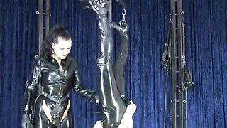 German mistress plays with her slave