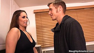 paige turnah wearing sexy jeans shorts seducing a guy in the kitchen