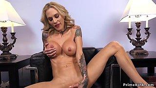 Huge tits tobed blonde fucks machine