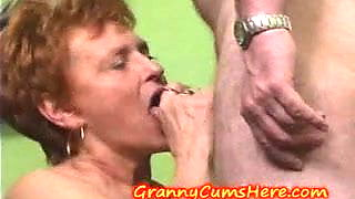 Granny eats CUM and LICKS and SUCKS ASS