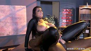 Big boobed brunette babe in latex sex suit enjoys giant black dick