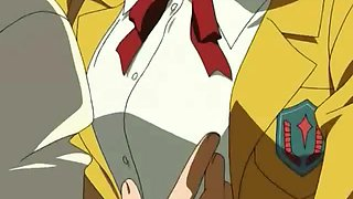 Winsome hentai secretary in glasses giving felatio in the