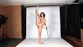 russian gymnast violeta laczkowa demonstrates big boobs and skills