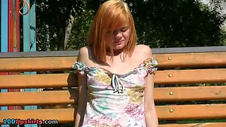 Redhead's nude muff