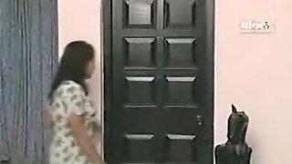 Desi indian Milf aunty boobs press and sucking in bathroom