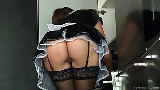 Smutty maid got her big boobies squeezed while being hammered rough by her master