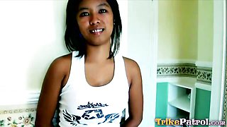 Small Filipina fucked Doggystyle then gets a Big Facial