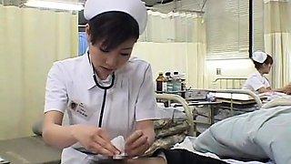 Naughty Japanese nurses satisfy their wild desire for cock