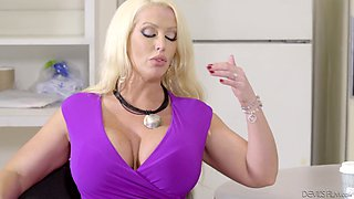 Pretty blonde babe Alura Jenson makes a guy cum on her big tits