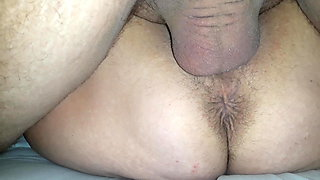 Young man fucks and comes in a mature stepmother