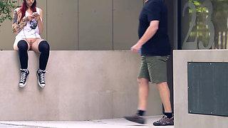 Skateboard girl flashing in public