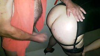 French slut crossdresser in a club