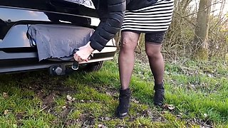 After a Fall in the Nettles Still Fucking the Car (see my bum at the end!!)