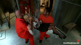 Sexy Blonde Prison Warden with Big Tits gets Gangbanged by Horny Inmates