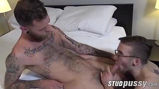 Transgender with glasses enjoys getting drilled with toys