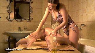 Russian 18 yo virgin Rita Ulyanova gets her pussy oiled up and finger fucked