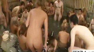 Subtitled Japanese gyaru bath orgy with perfect cumshot