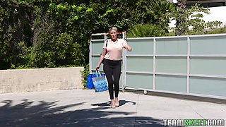 Cougar mom Ryan Keely gives a blowjob to her stepson who broker up with GF