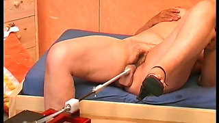 Hungarian Granny fucked by a sex machine