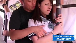 Asian schoolgirl fucked on the japanese bus