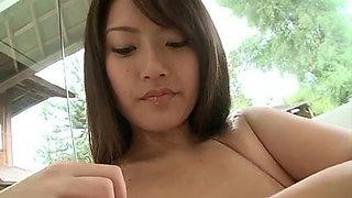 Busty bikini babe lotion massage