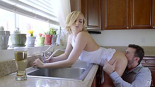 Sweet blonde girl Kate England gets fucked balls deep in the kitchen