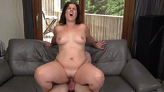 Curvy brunette MILF lady gets rammed by a young porn stud