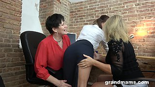 Two bossy grannies are fucking pretty young secretary Victoria