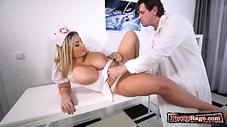 Big tits nurse titty fuck with cum on tits