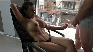 this hard body chick teasing