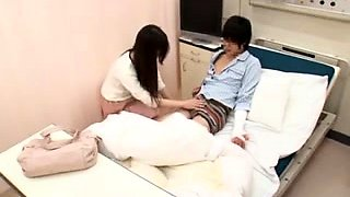 Wild Asian nurses feed their hungry pussies some hard meat