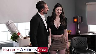 Naughty America: Big tit brunette Alyx Star fucks her boss to get that promotion on PornHD