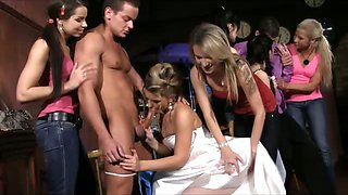 Stripper and waiter fucked by 6 girls