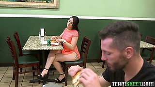 Nasty chick in short dress Mandy Muse is fucked in a public restroom