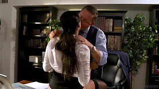 Asian Latina mixed race milf Vicki Chase gets intimate with her boss