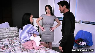 Teen dauther family 3some with foster parents