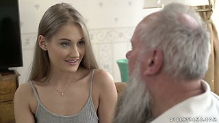 Lewd grey haired bearded old man is still able to please fresh cunt of Tiffany Tatum